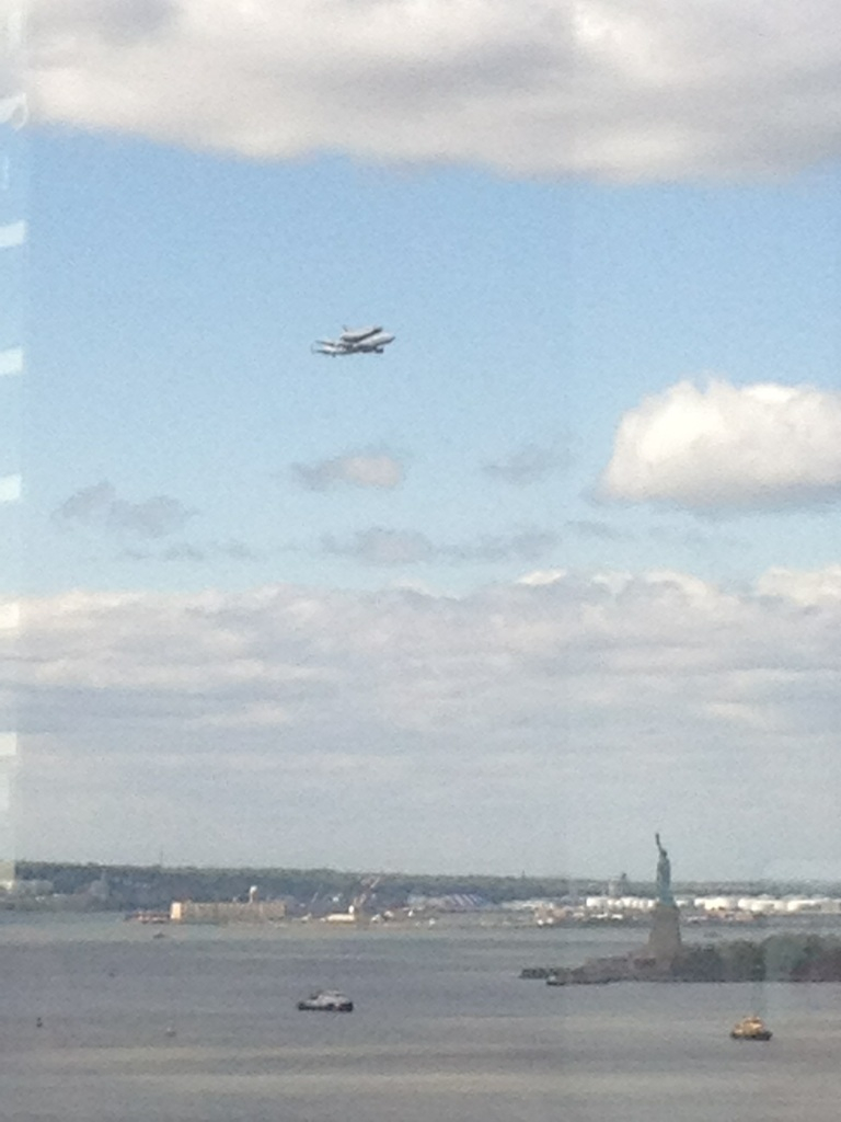 Space Shuttle Enterprise Over Statue of Liberty