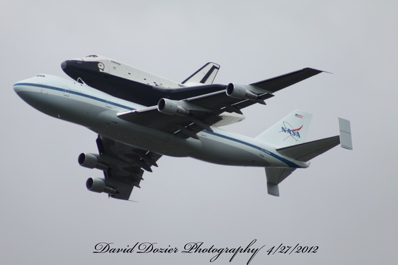 David Dozier took this great shot of Enterprise and its 747 jet carrier aircraft during the prototype orbiter's final flight on April 27, 2012.