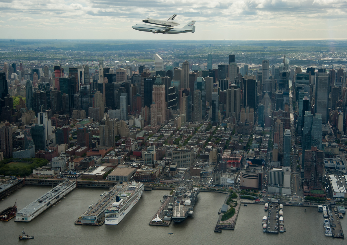 Enterprise and SCA Fly Above the Intrepid Sea, Air & Space Museum