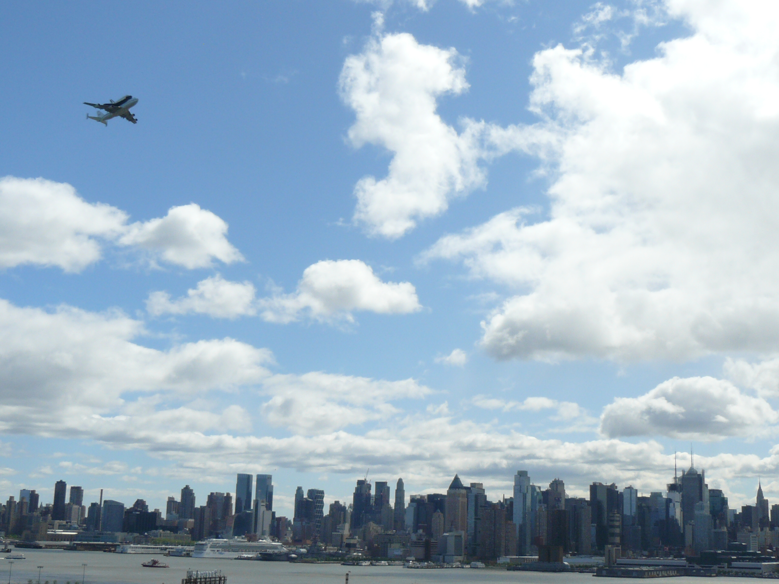 Shuttle Enterprise Over New York Skyline