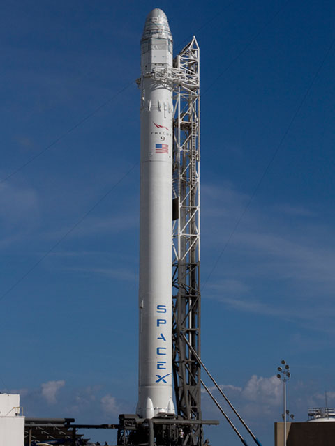 Falcon 9 Rocket and Dragon at Launch Pad