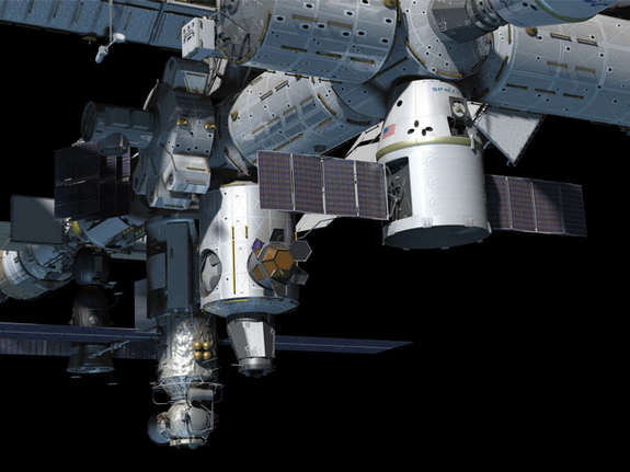 Artist's rendition of the Dragon spacecraft at the International Space Station.