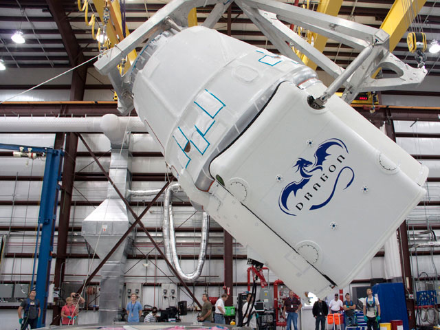 The Dragon Spacecraft Being Rotated