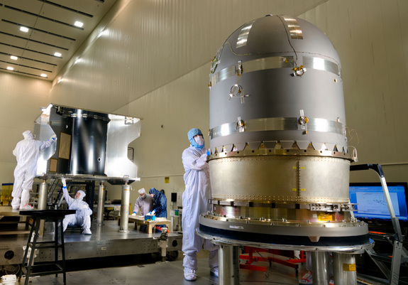 The MAVEN spacecraft's large hydrazine propellant tank is pictured prior to being installed in the core structure of the spacecraft at a Lockheed Martin clean room near Denver.