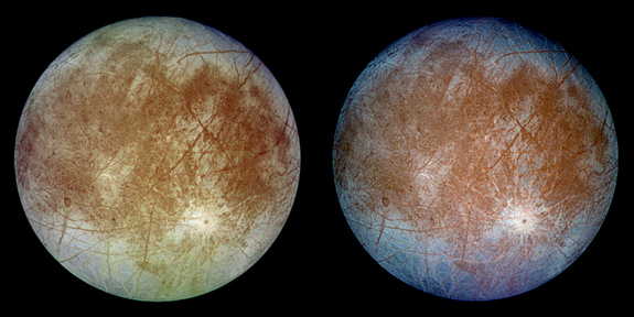These images show the trailing hemisphere of Jupiter's moon Europa taken by the Galileo spacecraft at a distance of about 677,000 km. The left image shows Europa in approximately true color and the right image shows Europa in enhanced color to bring out details. The bright feature towards the lower right of the disk is the 45 km diameter crater Pwyll.