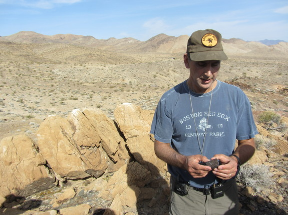 John Grotzinger, lead scientist for NASA's Curiosity Mars rover, talks about the geologist's craft on April 30, 2012, during a field trip to California's Death Valley.