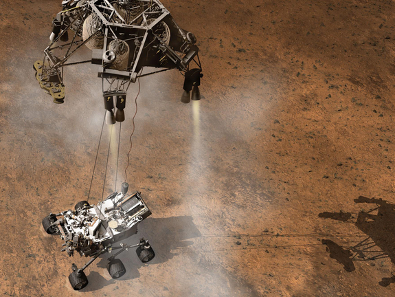 This artist's concept depicts a sky crane lowering NASA's Curiosity rover onto the Martian surface.
