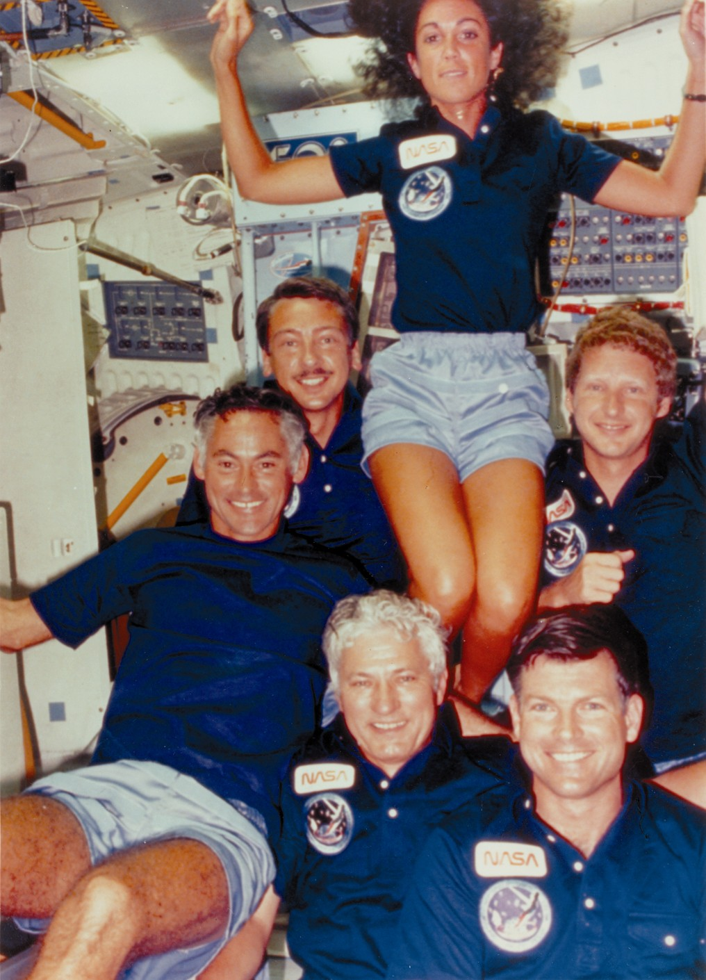 Space History Photo: STS-41D Crew Enjoying Space