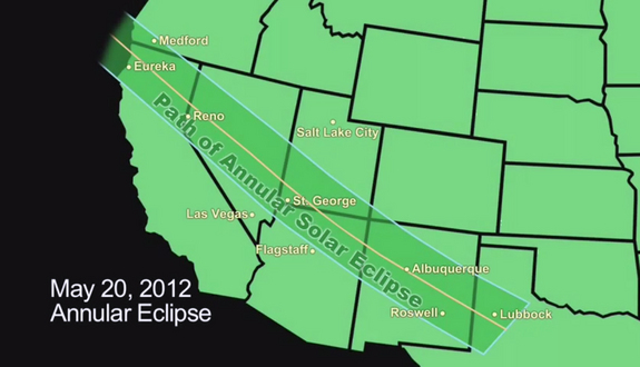 This NASA graphic of the western United States depicts the path of the annular solar eclipse of May 20, 2012, when the moon will cover about 94 percent of the sun's surface as seen from Earth.