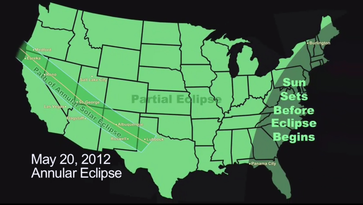 Annular Solar Eclipse, May 20, 2012: U.S. Visibility