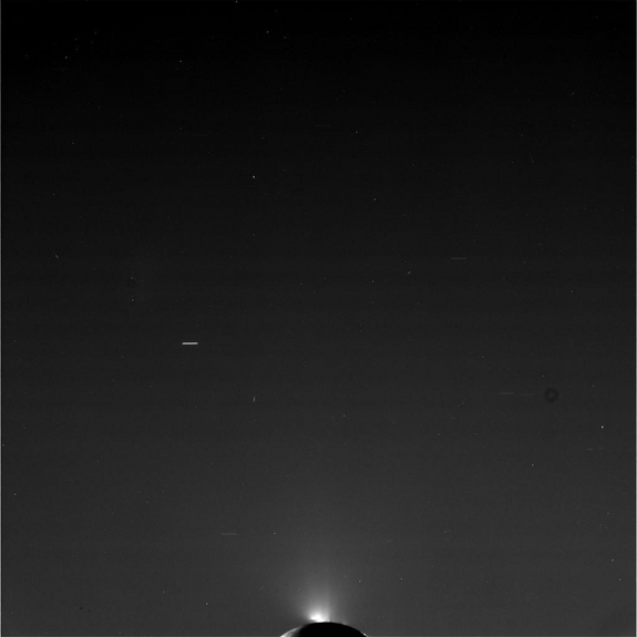 This raw, unprocessed image was taken by NASA's Cassini spacecraft on May 2, 2012. The camera was pointing toward Enceladus at approximately 239,799 miles (385,919 kilometers) away.