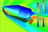 Computational Fluid Dynamics (CFD) image of Blue Origin's next-generation Space Vehicle.