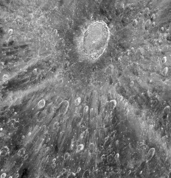 Astronomers using NASA's Hubble Space Telescope took this photo of the moon's Tycho Crater in January 2012 to help prepare for the transit of Venus across the sun's face on June 5-6. of that year. Hubble observed the transit, using the moon as a mirror.