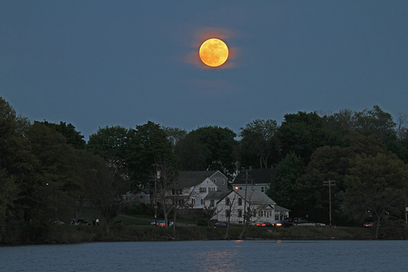 Veteran astrophotographers Imelda Joson and Edwin Aguirre captured this view of the supermoon of 2012, the full moon of May, on May 5, 2012, from Woburn, Mass.
