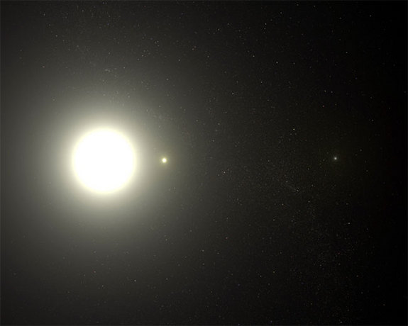 The North Star, Polaris, is depicted as a triple star system in this artist's conception, based on images taken with the Hubble Space Telescope.