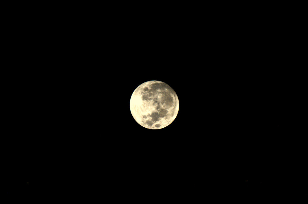 Supermoon Glowing in Night Sky