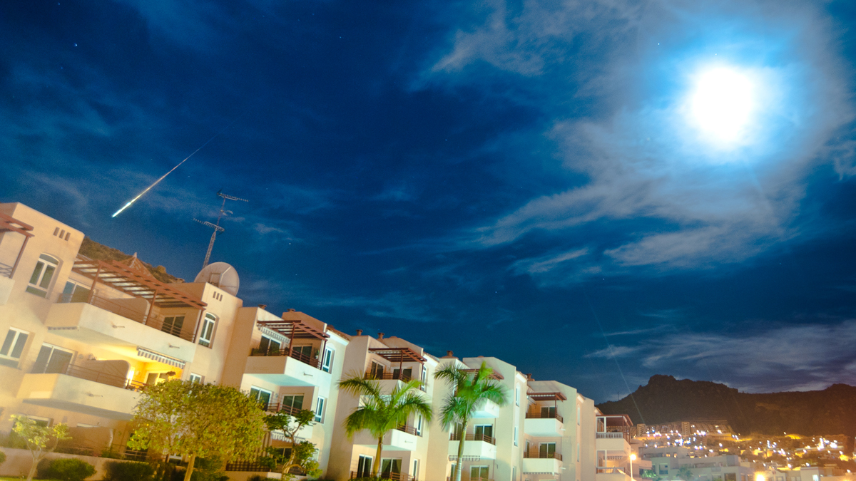 Supermoon and Fireball over Costa Adeje, Tenerife
