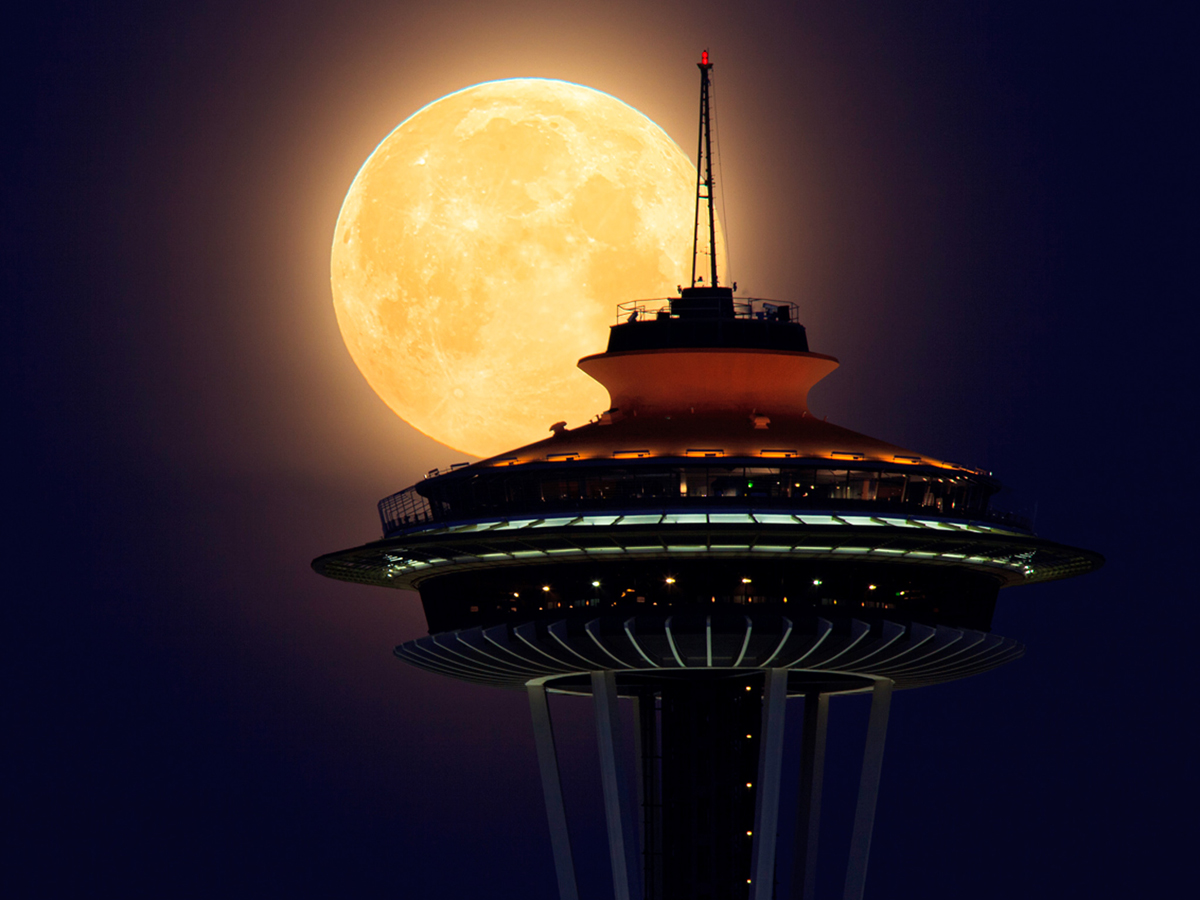 Supermoon and Space Needle