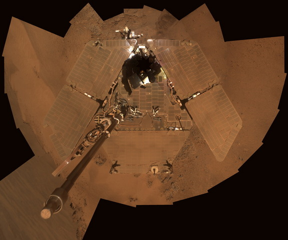 This self-portrait shows the Opportunity Mars rover and the dust accumulation on its solar panels as the mission approached its fifth Martian winter. With winter over and wind cleaning the panels, the robot is ready to roll again.