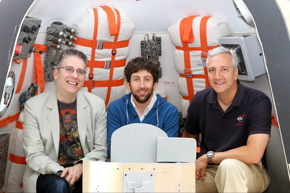 Veteran NASA astronaut Mike Massimino (right) poses for a photo with Big Bang Theory star Simon Helberg (center) and Executive Producer Bill Prady at the Paley Center in Los Angeles, Calif.