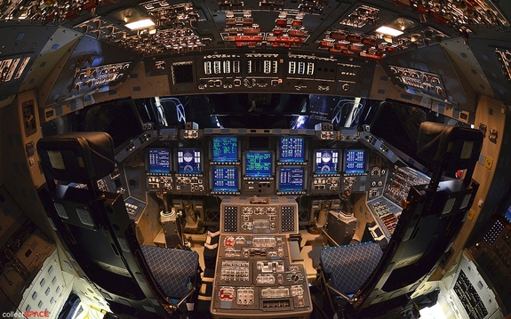 A last look at a fully lit space shuttle. NASA shut down space shuttle Endeavour for the final time on May 11, 2012, but not before giving collectSPACE.com the chance to photograph the retired spacecraft's powered-on flight deck.