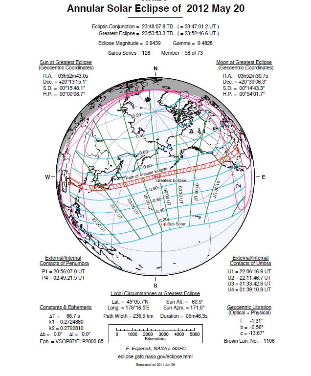 Annular Solar Eclipse: May 20, 2012 Ground Track
