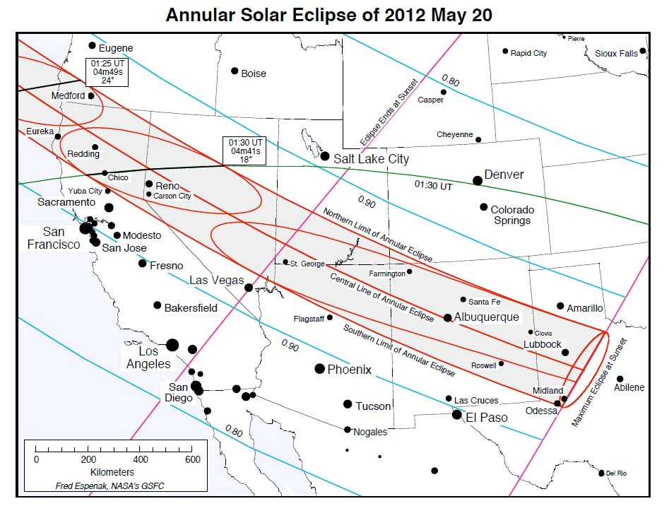 Annular Solar Eclipse: May 20, 2012  U.S. Ground Track