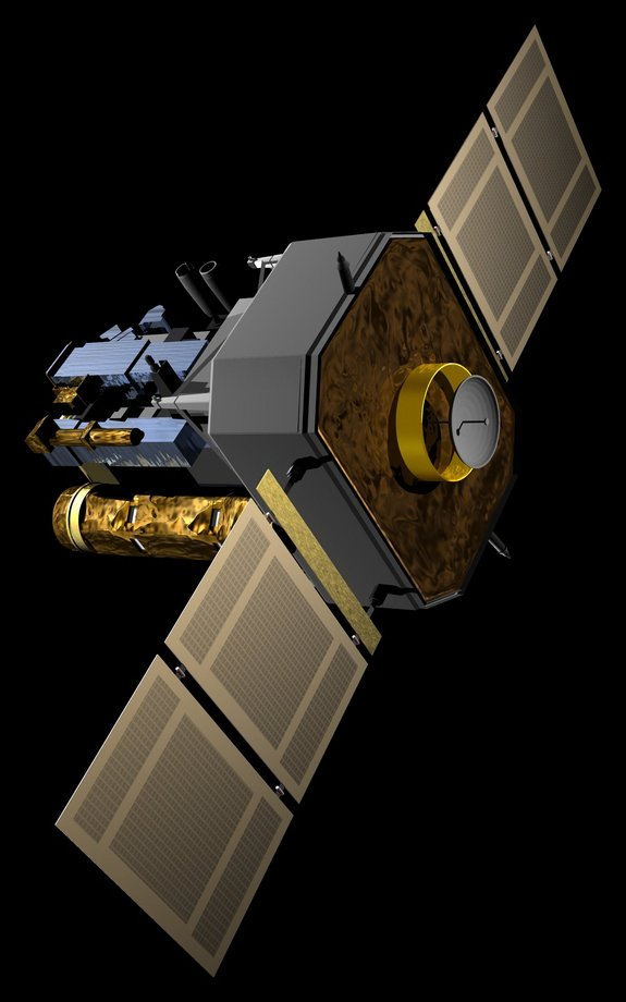 An artist's impression of the SOHO spacecraft.