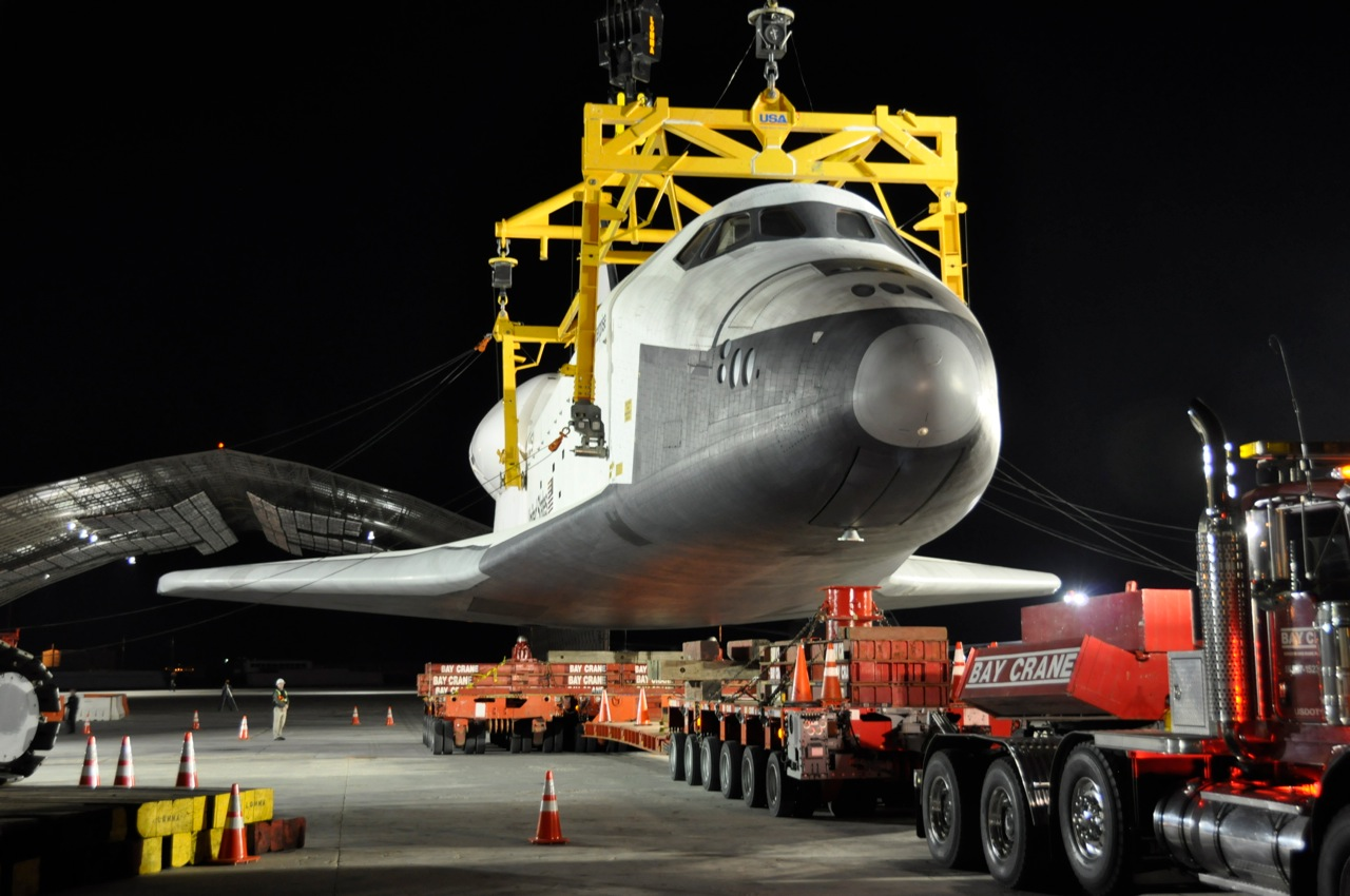 Space Shuttle Enterprise Hoisted Off Jumbo Jet in New York City
