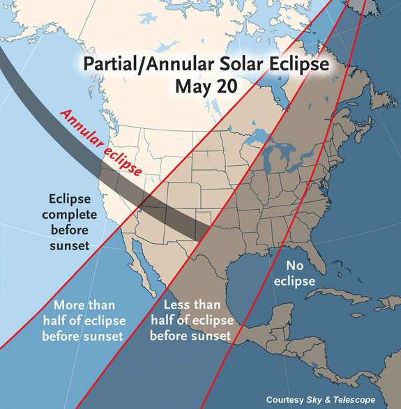Nearly all North America gets at least a partial eclipse on May 20th, with the Moon taking a big bite out of the Sun. The eclipse will still be in progress at sunset for much of the U.S., Canada, and Mexico.