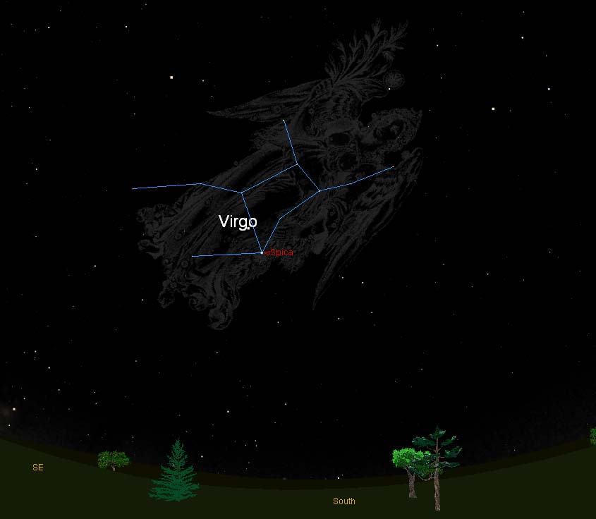 This sky map shows the location of the constellation Virgo, the Virgin, and its bright star Spica in the late evening sky as seen from mid-northern latitudes.