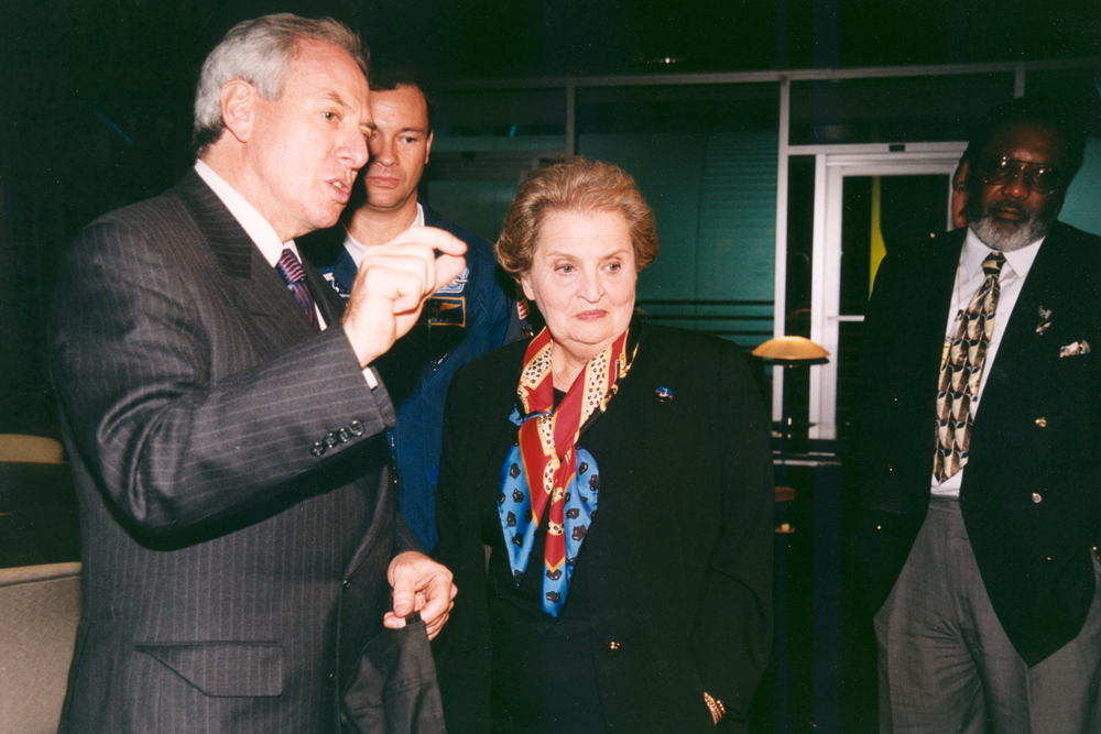 Space History Photo: Madeleine Albright & Daniel Goldin at STS-88 Launch