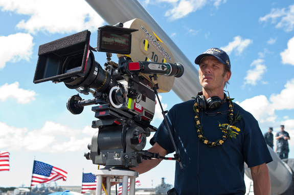 "Director/producer Peter Berg stands on the set of ""Battleship."""