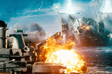 "Invaders attack a naval ship in ""Battleship."""