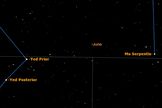A more detailed view of the asteroid Juno, half way between Yed Prior in Ophiuchus and Mu Serpentis.