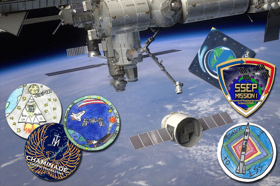 Student-designed mission patches, including those pictured, will fly with students' experiments on SpaceX's first Dragon capsule to launch to the International Space Station.