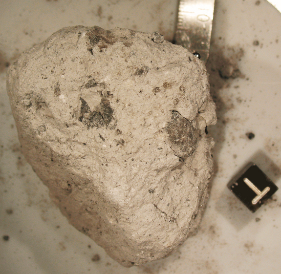 Astronauts collected this 3.77 billion-year-old ancient regolith breccia at the Apollo 16 landing site. The sample contains fragments of the asteroids that bombarded the Earth-moon system.