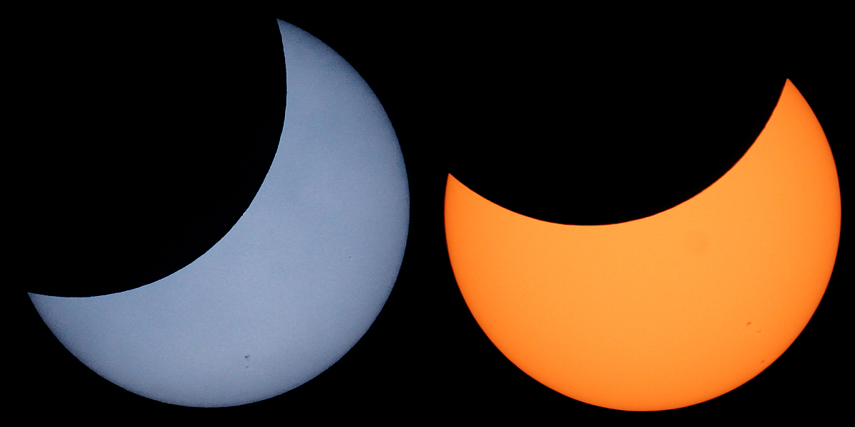 Blue and Yellow Eclipsed Sun