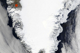 Satellite photo showing the southern portion of the Greenland ice sheet. The red dot marks Kangerlussuaq, the base of operations for the researchers.