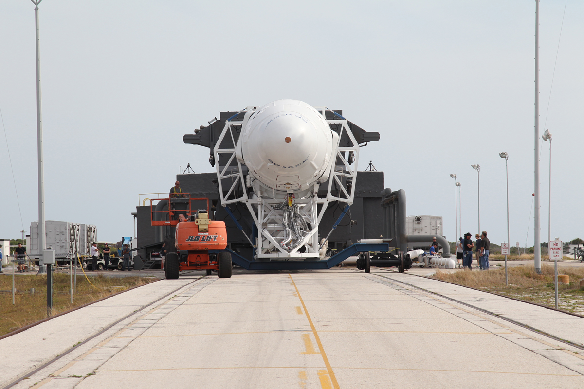 Falcon 9 Rocket and Dragon Spacecraft Rolling to Launch Pad, April 2012