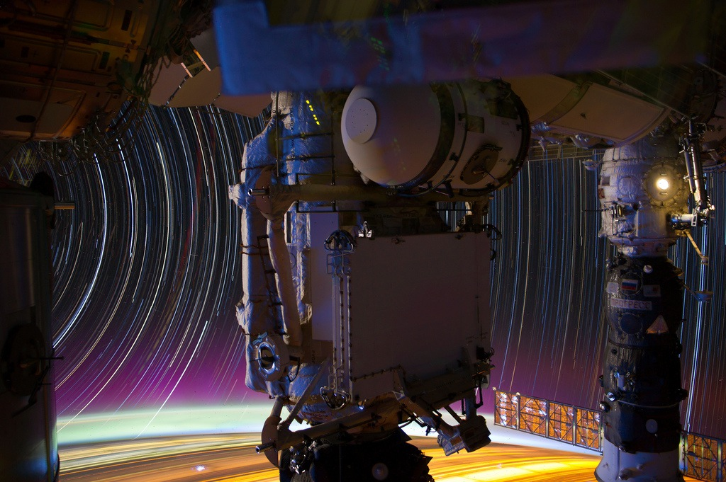 Colorful Star Trails Seen From the ISS