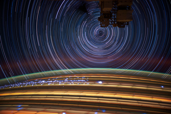Expedition 31 Flight Engineer Don Pettit took photos of star trails, terrestrial lights, airglow and auroras while aboard the International Space Station. Image taken May 17, 2012.