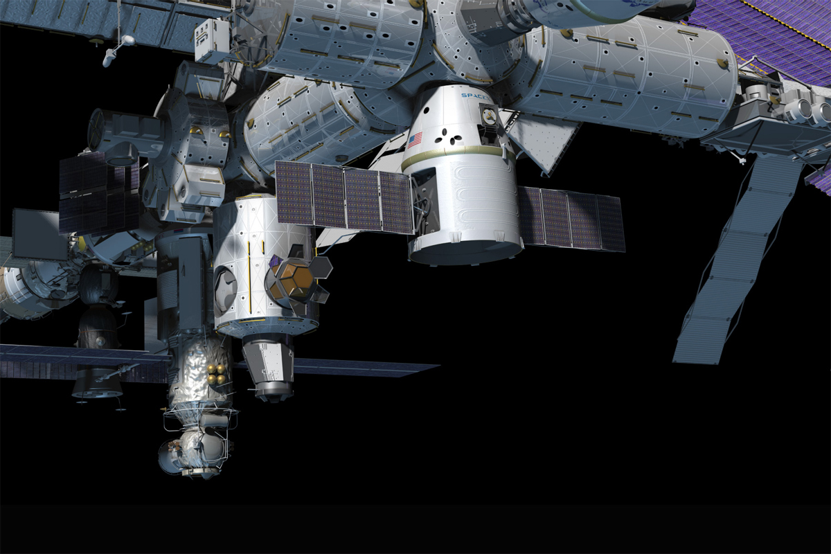 Dragon Capsule at International Space Station