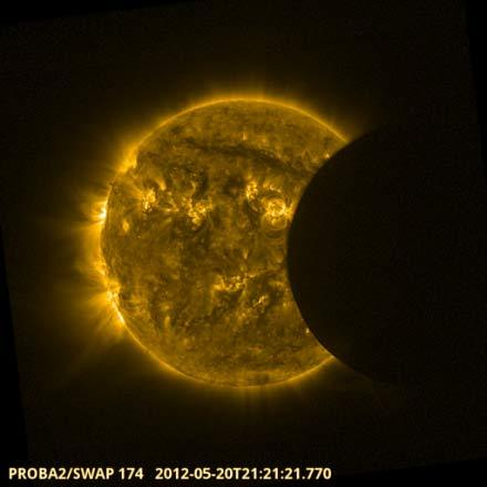 "The European Space Agency's Proba-2 space weather satellite observed the annular solar eclipse on May 20, 2012. The event was used to assess the intensity of stormy ""active regions"" across the sun's face and to check the performance of Proba-2's SWAP imager."
