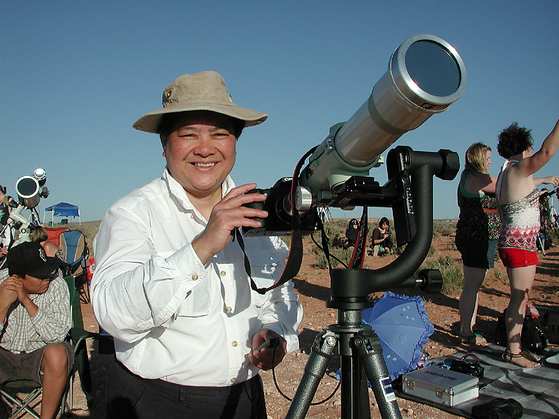 Imelda with Her Telescope Viewing the Eclipse on May 20, 2012