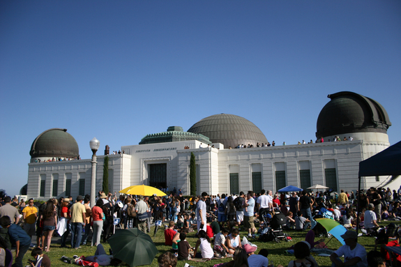 Skywatcher Maxim Senin turned his camera on the crowd of people gathered at Griffith Observatory in Los Angeles to view the annular solar eclipse, May 20, 2012.