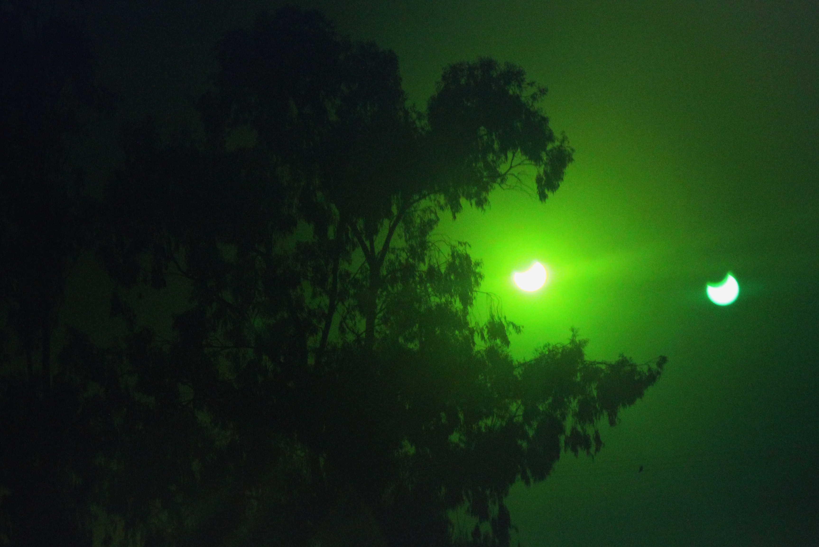 Annular Solar Eclipse Bathed in Green Light