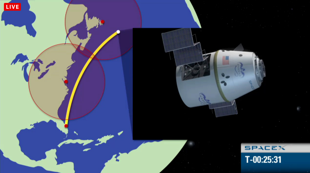 SpaceX Falcon 9/Dragon Launch Trajectory to ISS