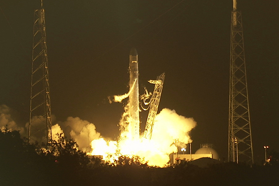 The Falcon 9 rocket and Dragon spacecraft launch from Space Launch Complex 40 at the Cape Canaveral Air Force Station in Florida on May 22, 2012.