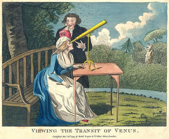 "A French cartoon entitled ""Viewing the Transit of Venus."""